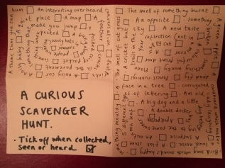 photo description: a handwritten scavenger hunt