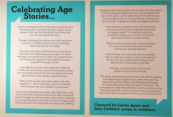 photo description: a panel on a wall in a gallery explaining about the Celebrating Age project