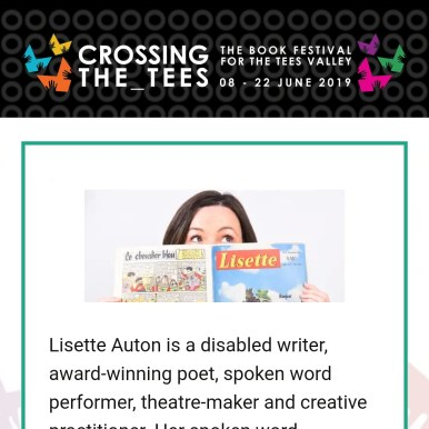 image from Crossing the Tees Book Festival website - a banner with books and hands looking like butterflies and a picture of me.