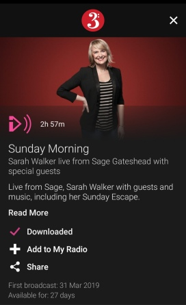 Photo from BBC Radio 3 web page advertising Sunday Morning with Sarah Walker