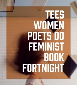image description: Graphic of woman throwing back hair with overlayed text reading Tees Women Poets Do Feminist Book Fortnight