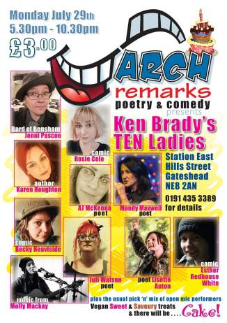 A poster showing all of the performers for the event