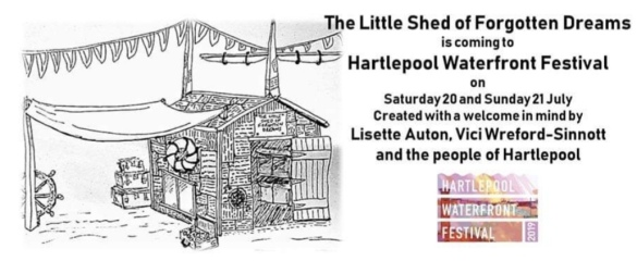 A drawing of a shed covered in words, info about event all written in the event listing