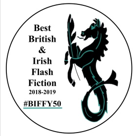 A horse with a mermaid's tail holds a quill. Text reads: Best British & Irish Flash Fiction 2018-2019 #BIFFY50
