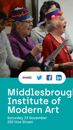 Photo of older people in hats with kazoos, with address of venue as in text below.