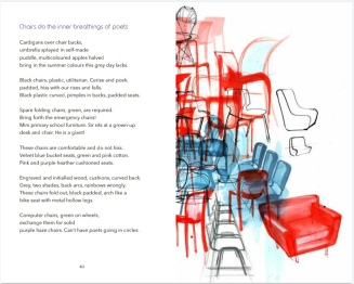 A poem about chairs with one of Sara's illustrations