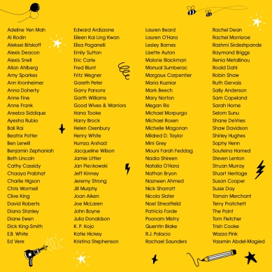Bright yellow design - 4 columns of names of authors and illustrators, mine is in the middle