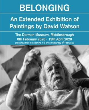 blue background, white text. A photo of Dave Watson staring at the camera. text is in event description