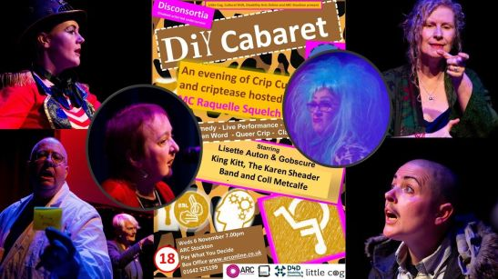 image description: a collage of photographs of artists who performed at the Disconsortia DIY Cabaret layered around the poster.