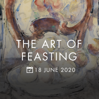 photo description: Cezanne's painting 'Apples, bottle and chairback' is the backdrop, on which is written The Art of Feasting 18 June 2020
