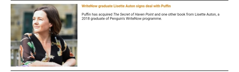 WriteNow graduate Lisette Auton signs deal with Puffin - Puffin has acquired The Secret of Haven Point and one other book from Lisette Auton, a 2018 graduate of Penguin's WriteNow programme