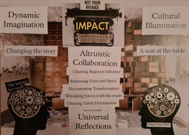 A collage on an A3 piece of white paper using pieces ripped from magazines. Phrases include: dynamic imagination; changing the story; impact; cultural illumination; a seat at the table. Images includes: silhouettes of heads with cogs inside; a scruffy rooms with a wall full of open cupboards; a typewriter.