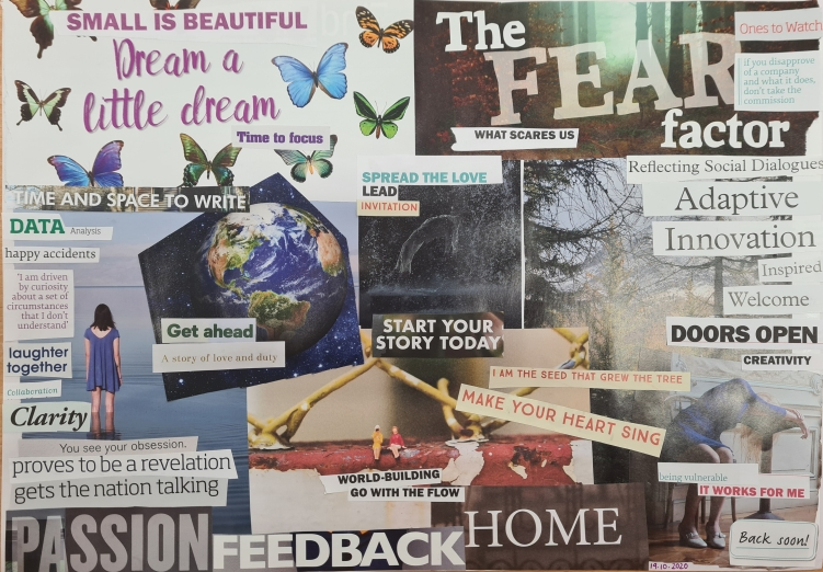 A collage on an A3 piece of white paper using pieces ripped from magazines. Phrases include: small is beautiful; dream a little dream; invitation; reflecting social dialogue; start your story today; proves to be a revelation; gets the nation talking. Images include: a woman staring out to sea; butterflies; a woman sleeping on a table; trees; the planet.