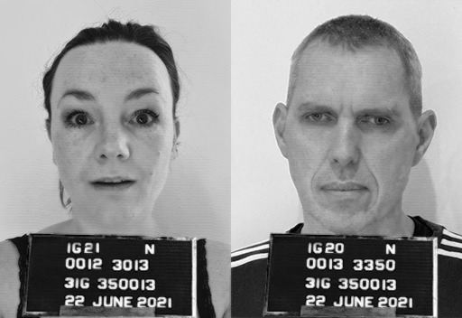 Black and white image – two mugshots side by side. On the left a white woman with scraped back hair and surprised expression. On the right a white man with short hair and a moody expression. Code letters and numbers on boards by their chests
